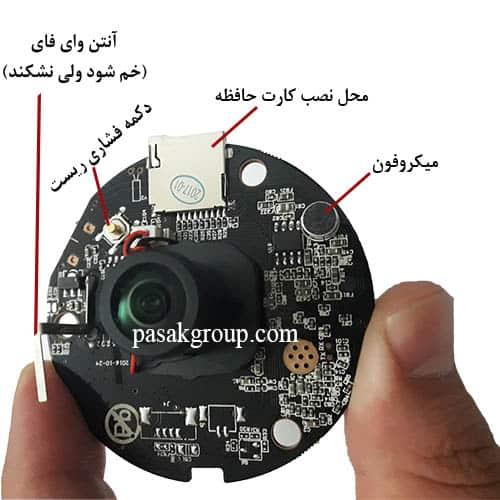 تصویر برد و مدار الکتریکی دوربین مینی فیش آی کوچک 360 درجه